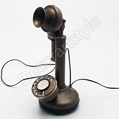 Decorative Royal Antique Reproduction Candle stick Working Telephone Home Decor ()