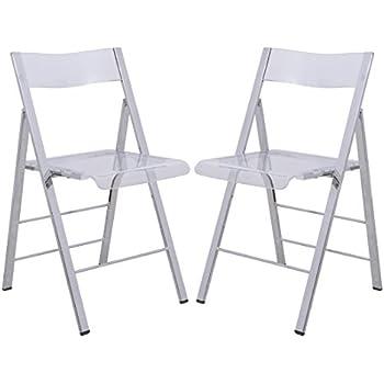 LeisureMod Menno Modern Transparent Acrylic Folding Chair (Set Of 2)