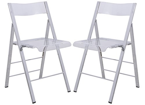 LeisureMod Milden Modern Acrylic Folding Chairs, Set of 2 (Clear)