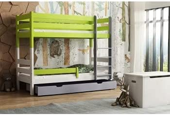 Children's Beds Home - Litera de madera maciza - Toby para niños y niños pequeños - Tamaño 200 x 90, mezcla de colores 1, cajón no, colchón de espuma de 10 cm / colchón de látex