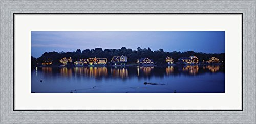 (Boathouse Row lit up at dusk, Philadelphia, Pennsylvania by Panoramic Images Framed Art Print Wall Picture, Flat Silver Frame, 35 x 17)