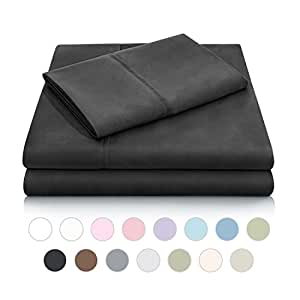 MALOUF Double Brushed Microfiber Super Soft Luxury Bed Sheet Set - Wrinkle Resistant - Queen Size - Black