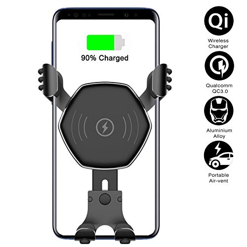 Fast Wireless Car Charger Mount - Auto-Clamping Gravity Air Vent Phone Holder,Fast Charging Compatible for iPhone X/8/8Plus,Samsung Galaxy S9/8/7/Note 8/9