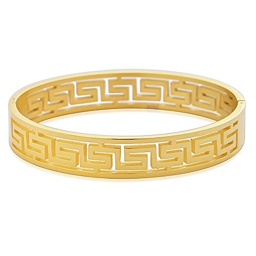 - EDFORCE Stainless Steel Women's Greek Pattern Oval Cutout Hinged Bangle Bracelet (Gold)