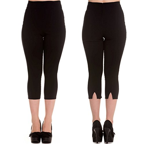 Hell Bunny Tina Capris Black Pants Pedal Pushers Rockabilly Retro Inspired (S) ()