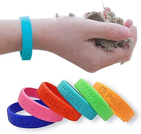 Pulsera personalizada SOS para niños de silicona - Bienpegado - utilizarlas en varios tamaños - resistente al agua y duradera (Azul marino)
