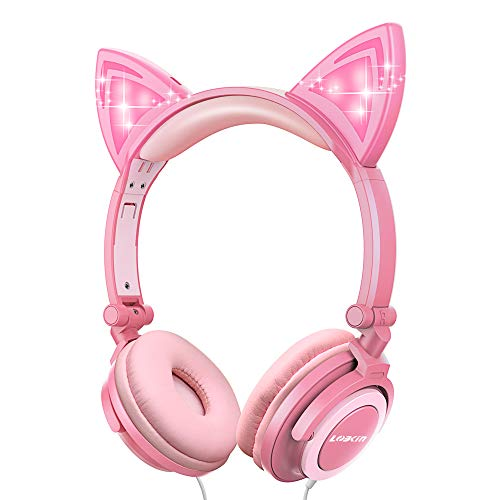 LOBKIN Foldable Wired Over Ear Kids Headphone with Glowing Light for Girls Children Cosplay Fans,Cat Ear Headphones (Peach)