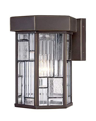 Designers Fountain 32121-ABP 8 Inch Wall Lantern, Aged Bronze Patina Finish with Clear, Seedy & Ribbed Shade