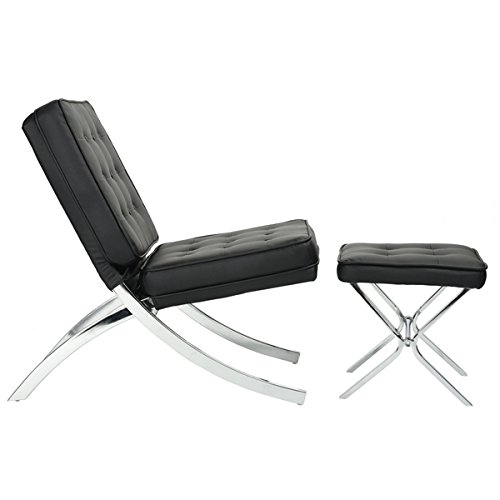 Black Bonded Leather Chrome Frame Tufted Button Accent Lounge Chair and Ottoman - 2pcs Set