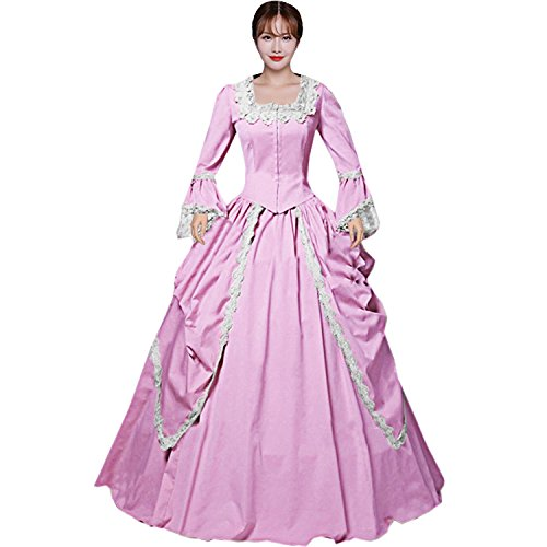 Partiss Womens Pink Marie Antoinette Masked Ball Victorian Costume Dress