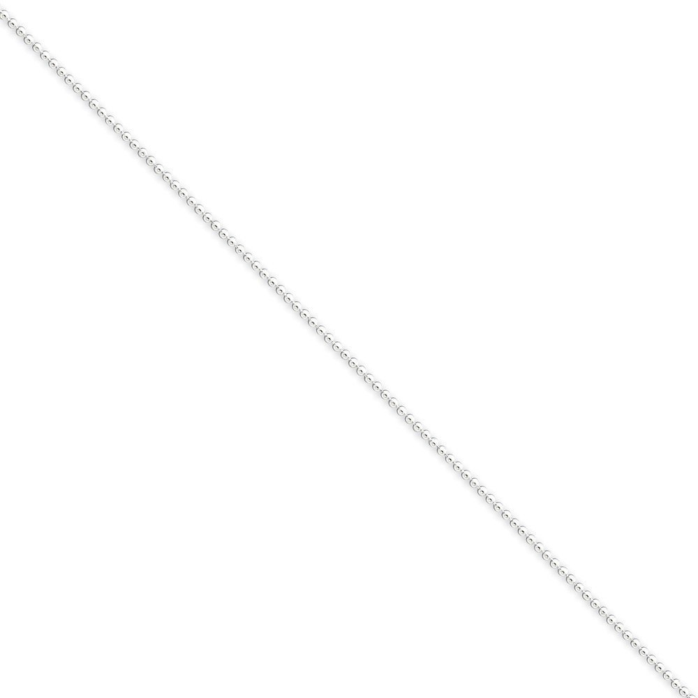 PriceRock Sterling Silver 1.25mm Beaded Chain Necklace 18 Inches