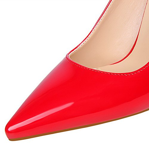 Leather Red Women's Toe High Shoes Patent Pull WeenFashion Closed On Heels Pumps SC6qwOP