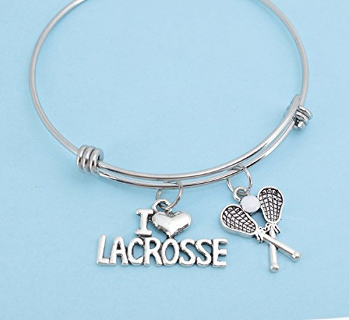 I Love Lacrosse bracelet in stainless steel with silver pewter lacrosse sticks and I love lacrosse charm in silver metal.