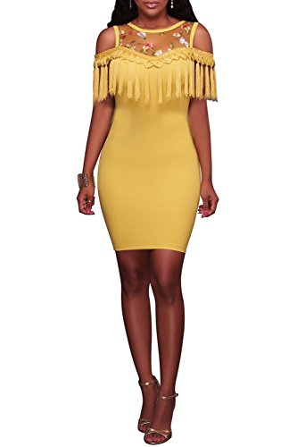 Wonderoy Women's Tassel Embroidery Slim Fitted Club Cocktail Party Bodycon Mini Dress XL Yellow