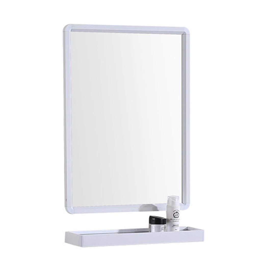 White 70X60CM TLMYDD Bathroom Mirror Wall Hanging Large Flat Frame Mirror Vanity Mirror Wash Basin Mirror with Bathroom Shelf Wall Mirror (color   White, Size   70X60CM)