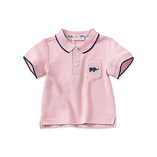 DAVE & BELLA Baby Boys Polo Shirts Tops Short Sleeve Pocket for 12M~7T (Pink, 18M)