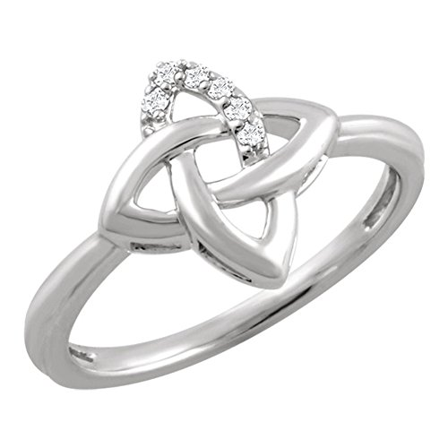 0.12 ct Ladies Round Cut Diamond Infinity-style Anniversary Ring in 14 kt White Gold In Size 10 (Gold 10 Ring Infinity Kt)