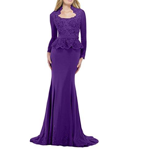 mia Figurbetont Dunkel Meerjungfrau Promkleider Lila Langarm Brautmutterkleider Abendkleider Brau La Festlichkleider Bodenlang Etuikleider 1vBwx6P
