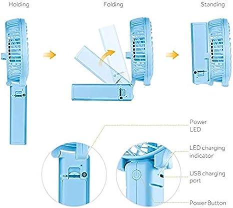 Black USB Desk Fan Mini Small Personal Portable Stroller Table Fan USB Rechargeable 2200mAh Battery Operated Fan Cooling Folding Outdoor Electric Fan for Travel Office Household Handheld Fan