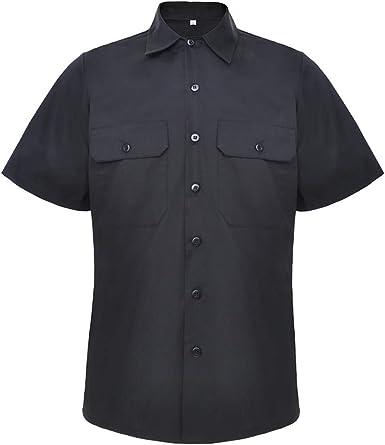 TopTie Camisa de trabajo de manga corta para hombre, cuello ...