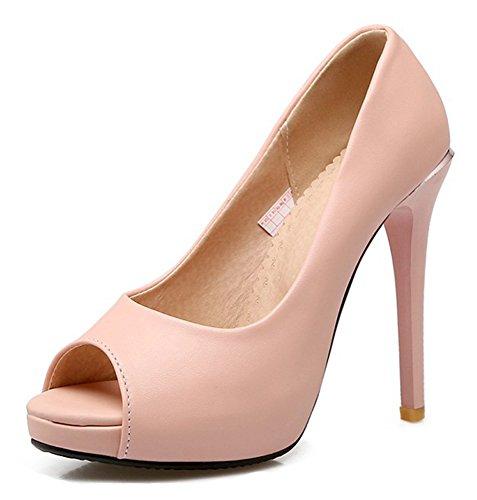 Escarpins Peep Toe Daisun Femmes - Slip Coupe Basse Sur Chaussures Talons Aiguille - Super Talon Plate-forme Soirée Soirée Rose