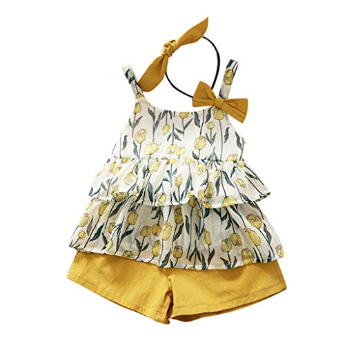 Kids Clothes Kids Dresses Children's Sleeveless Bow Tulip Flower Top Vest + Shorts + Headband Set 2Y-6Y Yellow