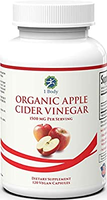 Organic Apple Cider Vinegar Pills – Bloating Relief and Weight Loss – Hunger Suppressant for Women and Men – May Assist with Detox Cleanse, Weight Loss, and Healthy Digestion – 1500 mg - 120 caps
