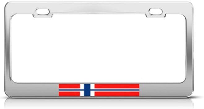 NORWAY FLAG NORWEGIAN Metal License Plate Frame Tag Holder