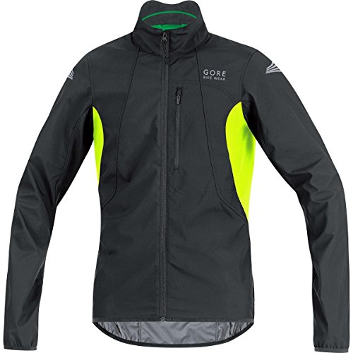 GORE BIKE WEAR Herren Fahrradjacke, Super Leicht, GORE WINDSTOPPER, ELEMENT WS AS Jacket, Größe: XL, Schwarz/Neon Gelb, JELECO