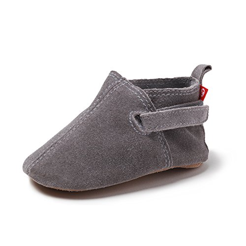 Zutano Unisex-Baby Leather Baby Shoes 6M (3-6 Months), Grey Suede