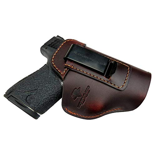 Relentless Tactical The Defender Leather IWB Holster - Made in USA - for S&W M&P Shield - Glock 17 19 22 23 32 33 / Springfield XD & XDS/Plus All Similar Sized Handguns - Brown - Right Handed