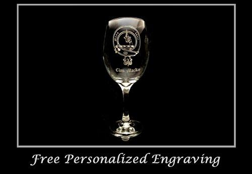 (MacKay Family Scottish Clan Crest - Clear Wine Glass 18oz - Free Personalized Engraving, Large Wine Glass, Celtic Decor, Scottish Wedding)