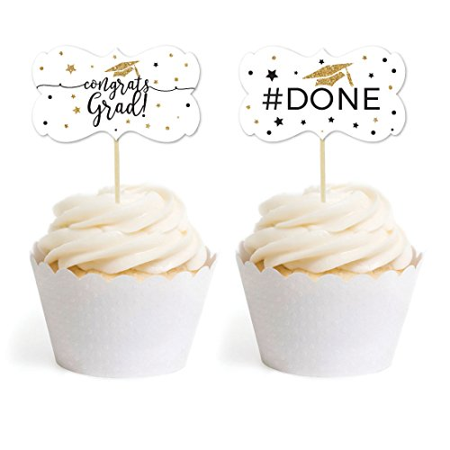 Andaz Press White and Gold Glittering Graduation Party Collection, Cupcake Topper DIY Party Favors Kit, Fancy Frame Shape, 18-Pack ()