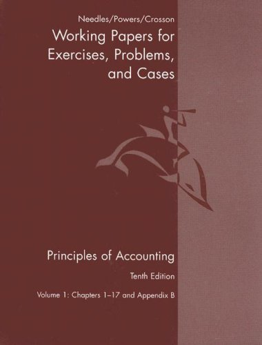 1: Principles Of Accounting And Principles Of Financial Accounting Working Papers Volume One Tenth Edition