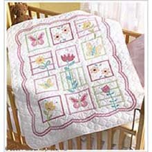 "Bucilla Sophie Crib Cover Stamped Cross Stitch Kit, 34"" x 43"
