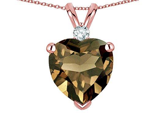 Star K 8mm Genuine Smoky Quartz Heart Pendant Necklace 10k Rose Gold