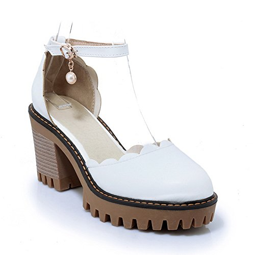BalaMasa Womens Sandals Closed-Toe No-Closure High-Heel Solid Cold Lining Waterproof Smooth Leather Cushioning Sandals ASL04598 White