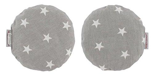 Wärmkissen Kirschkernkissen rund von HOBEA-Germany, Modell:grau mit weißen Sternen