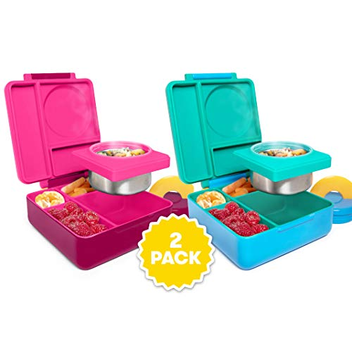 OmieBox Bento Lunch Box for Hot & Cold Food | 3 Compartments, Two Temperature Zones + Thermos Food Jar for Kids - Leak-Proof and Insulated - (Pink Berry/Meadow) (2 Pack)