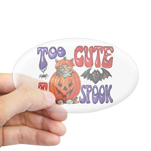 Oval Pumpkin - Sticker Clear (Oval) Halloween Pumpkin Kitten Spider