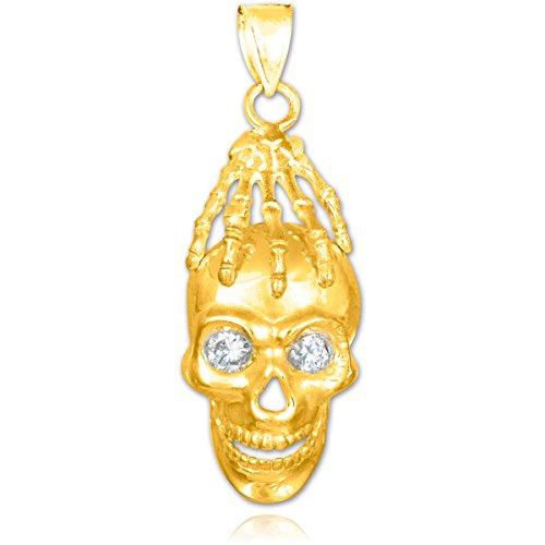 Petits Merveilles D'amour - 10 ct 471/1000 Or crâne et main vierges Oxyde de Zirconium Pendentif Collier Eye (vient avec une Chaîne de 45 cm)