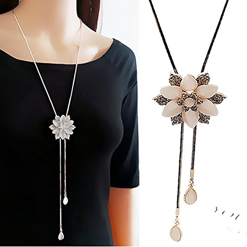 84a6e87a27ef Generic 2018  Opal  fashion flower  in  spring  and  summer accessories  sweater chain long tassel necklace pendant