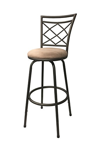 Round Back Swivel Stool - Halfy Round Seat Counter-to-Bar Height Adjustable 360 Degree Swivel Metal Bar Stool, Brown