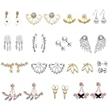 12 Pairs Gold Silver Crystals Ear Crawler Cuff Earring Hollow Lotus Flower Earring Butterfly Angel Climber Studs Olive Leaf Dream Catcher (12 pairs)