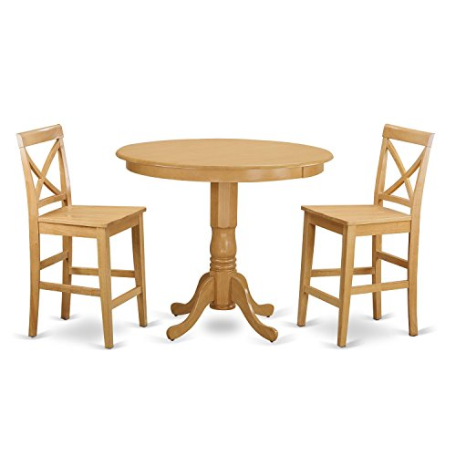 East West Furniture TRPB3-OAK-W 3 Piece Table and 2 Counter Height Stool Set
