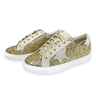 Nature Breeze Women Classic Two Tone Star Lace up Fashion Sneakers (55, Gold Glitter)