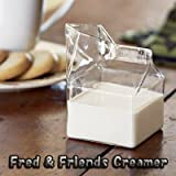 【並行輸入品】 Fred & Friends 牛乳パック型 ミルクピッチャー ハンドメイド ガラス製 Half Pint Creamer