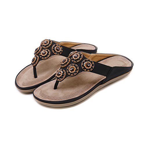 de Plates Dames de Sandales de Noir des Bascule Ruiren D'été de Chaussures Rhinestone pour Plage Femmes 5EAdq