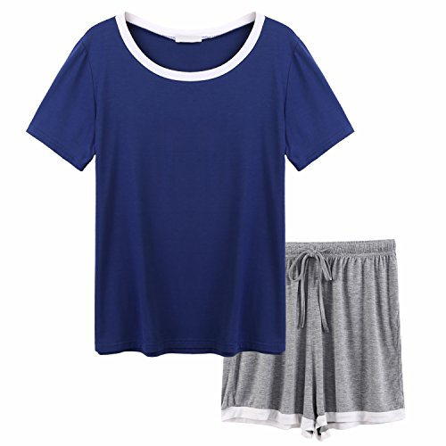 pehie Women's Pajama Set Short Sleeve Modal Scoop Neck Sleepwear S-XXL - Knit Sleepwear