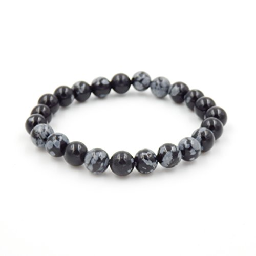 Malahill Semirecious Gemstone Healing Balance Stretch Bracelets, Natural A Grade (Snowflake Obsidian 8mm)